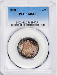 Click now to see the BUY IT NOW Price! 1868 LIBERTY SEATED 25C PCGS MS 66