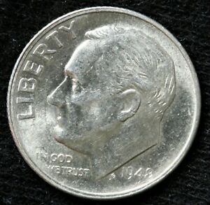 1948 S ROOSEVELT SILVER DIME / DIE FATIGUE ERROR COIN IN DATE / 25C COMBINED S&H