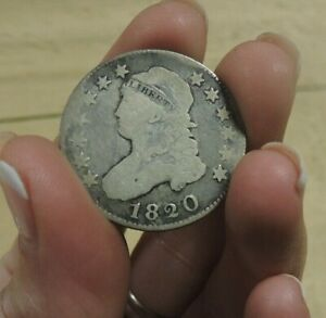 ANTIQUE 1820 CAPPED BUST QUARTER CIRCULATED SILVER  VABX