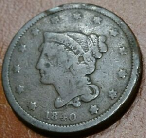 1840 SMALL DATE BRAIDED HAIR LARGE CENT COIN OLD COPPER 1C COLLECTION