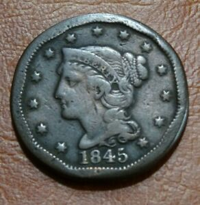 HIGH DETAIL MODIFIED 1845 BRAIDED HAIR LARGE CENT COIN OLD AMERICAN 1C PENNY