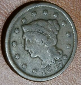 DECENT 1847 BRAIDED HAIR LARGE CENT COIN OLD COPPER 1C PENNY COLLECTION