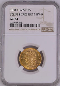 Click now to see the BUY IT NOW Price! 1834 CLASSIC HEAD $5 NGC MS 64