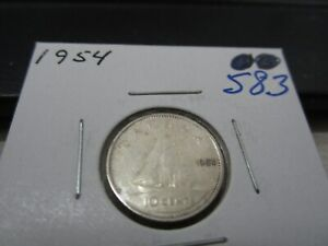 1954   CANADA SILVER 10 CENT   CANADIAN DIME