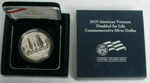 2010 P AMERICAN VETERANS DISABLED FOR LIFE $1 COMMEMORATIVE PROOF DOLLAR BOX COA