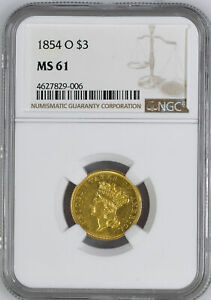 1854 O INDIAN PRINCESS $3 NGC MS 61