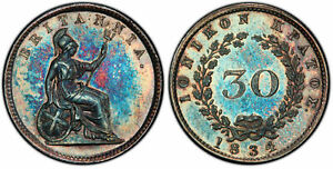 Click now to see the BUY IT NOW Price! IONIAN ISLANDS. 1834 AR 30 LEPTA. PCGS PR66 KM 35 SUPERBLY TONED.
