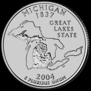 2004 P MICHIGAN STATE QUARTER NEW U.S. MINT