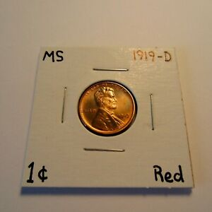 1919 D LINCOLN WHEAT CENT MS BU UNC MINT STATE GEM UNCIRCULATED TONED RED RD
