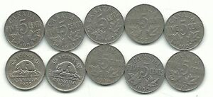 VERY NICE LOT 10 VINTAGE CANADA 5 CENTS 1927 1928 29 31 33 34 35 1936 1939 1940