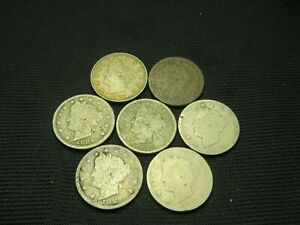 1883 N/C 1883 W/C 1884 1887 1888 1889 1890  LIBERTY V NICKEL CULLS