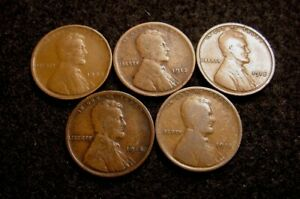 NICE LOT 1909 P 1912 P 1913 P 1914 P 1915 P G/VG CIRCULATED LINCOLN WHEAT CENTS