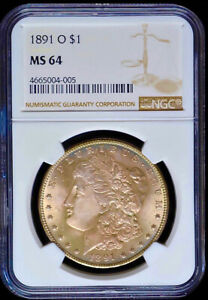 1891 O MORGAN SILVER DOLLAR NGC MS64 AWESOME TONING OBVERSE & REVERSE