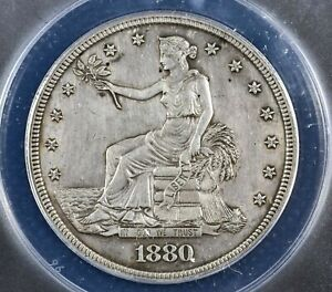 1880 PROOF TRADE SILVER DOLLAR T$1 COIN   CERTIFIED ANACS PF 58 DETAIL CLEANED