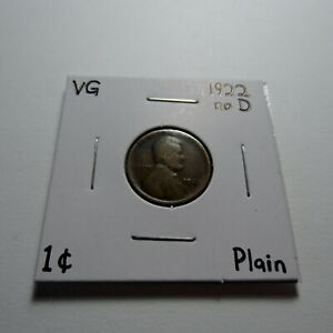 1922 NO D PLAIN LINCOLN WHEAT CENT UNCERTIFIED RAW GOOD VG