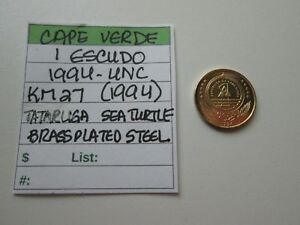 CAPE VERDE   1 ESCUDO 1994 UNC KM 27  1994   SEA TURTLE