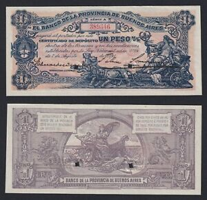 ARGENTINA 1 PESO 1891 PROVINCE BUENOS AIRES  UNISSUED  FDS UNC  C 07
