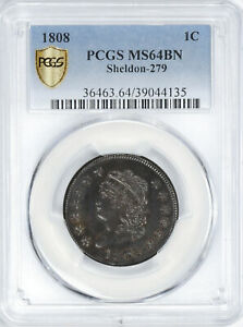 Click now to see the BUY IT NOW Price! 1808 CLASSIC HEAD 1C PCGS MS 64 BN