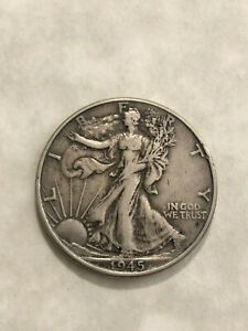 1945 50C LIBERTY WALKING SILVER HALF DOLLAR US COIN