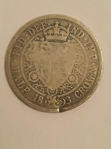 1893 VICTORIAN STERLING SILVER HALFCROWN COIN. WITH A DENT