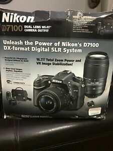 NIKON D D7100 24.1MP DIGITAL SLR CAMERA   BLACK KIT INCLUDES 2 LENSES TRAVEL BAG
