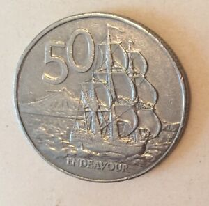 1987 NEW ZEALAND 50 CENTS COIN WORLD FOREIGN COIN OLD MONEY