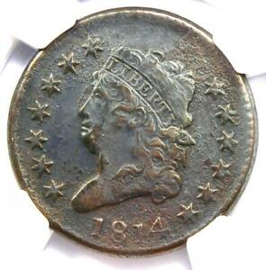 1814 CLASSIC LIBERTY HEAD LARGE CENT 1C S 295   NGC VF DETAIL    DATE