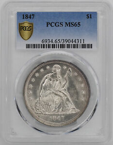 Click now to see the BUY IT NOW Price! 1847 LIBERTY SEATED S$1 PCGS MS 65