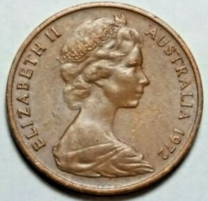 1972 AUSTRALIA   1 CENT BRONZE COIN   FEATHER TAILED GLIDER   QUEEN ELIZABETH II