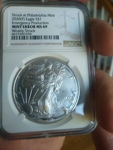 Click now to see the BUY IT NOW Price! 2020 PHILADELPHIA SILVER EAGLE NGC 69 ERROR COIN..