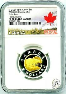 Click now to see the BUY IT NOW Price! 2020 CANADA $2 GILT SILVER PROOF POLAR BEAR TOONIE NGC PF70 UCAM FIRST RELEASES