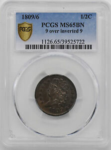 Click now to see the BUY IT NOW Price! 1809/6 CLASSIC HEAD 1/2C PCGS MS 65 BN