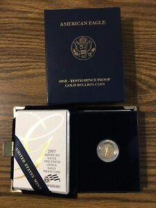 2007 W GOLD AMERICAN EAGLE 1/10 OUNCE WITH MINT PACKAGING PROOF