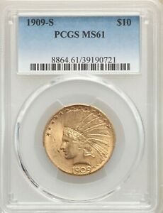 1909 S $10 GOLD INDIAN HEAD  EAGLE PCGS MS61