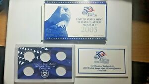 US MINT 2005 PROOF SET PACKAGE / BOX LENS & CERTIFICATE. NO COINS.