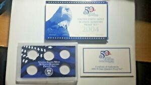 US MINT 2004 PROOF SET PACKAGE / BOX LENS & CERTIFICATE. NO COINS.