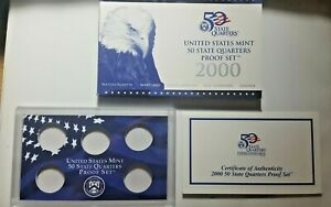 US MINT 2000 PROOF SET PACKAGE / BOX LENS & CERTIFICATE. NO COINS.