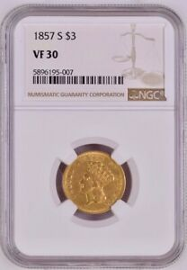 1857 S THREE DOLLAR INDIAN GOLD COIN $3   CERTIFIED NGC VF30