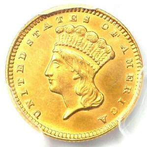 1874 INDIAN GOLD DOLLAR  G$1 COIN    CERTIFIED PCGS UNCIRCULATED DETAIL  UNC MS