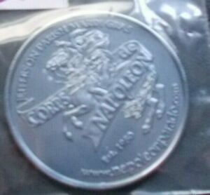 THE BATTLE  WATERLOO SILVER PLASTIC NAPOLEON  COMMEMORATIVE COIN/MEDAL  38MM