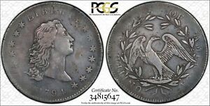 1794 $1 FLOWING HAIR DOLLAR PCGS VF25  ONE OF ONLY APX 120 COINS STRAIGHT GRADED