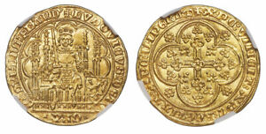 Click now to see the BUY IT NOW Price! BELGIUM. FLANDERS. LOUIS II DE MALE  1346 84  AV CHAISE D'OR. NGC MS64 FR. 163.
