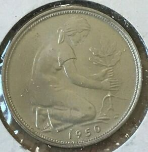Click now to see the BUY IT NOW Price! 1950 G GERMANY 50 PFENNIG   BEAUTIFUL UNCIRCULATED