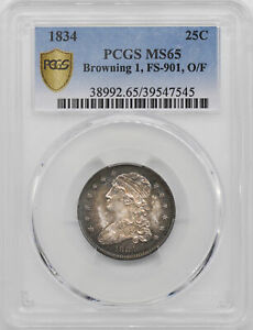 1834 CAPPED BUST 25C PCGS MS 65