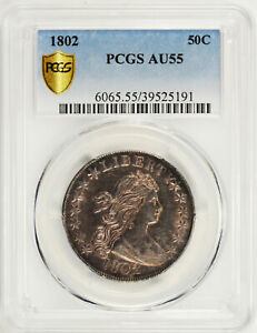 Click now to see the BUY IT NOW Price! 1802 DRAPED BUST 50C PCGS AU 55