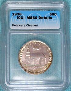 1936 MS 60 DETAILS DELAWARE COMMEMORATIVE HALF 20 993 MINTED LOT 2