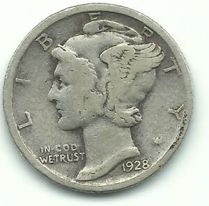 A NICE VINTAGE 1928 P MERCURY SILVER DIME OLD US COIN JUL163