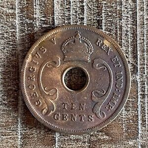 BRITISH EAST AFRICA 10 CENTS COIN 1924 BRONZE CIRCULATED
