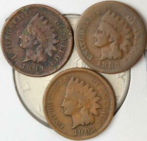 7 COIN INDIAN HEAD CENT LOT   1883 1891 1893 1896 1900 1903 1907   4001 13