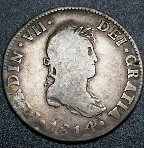 WORLD 1814 JJ 2 REALE MEXICO MILLED BUST U.S. EARLY COLONY ERROR COIN $$$